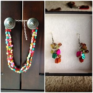 Multicolored beaded necklace and earrings