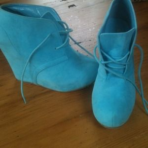 Shoes - BLUE SUEDE BOOTIES new , no tag or box