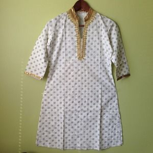 White & gold embroidered long cotton shirt