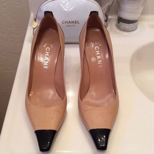 Authentic Chanel Nude and Black Heels