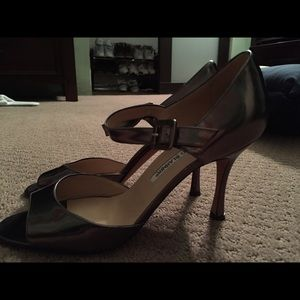 Metallic peep toe manolo blahniks