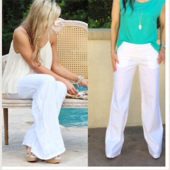 55% off Pants - White linen pants with side pockets from Evelyne's ...