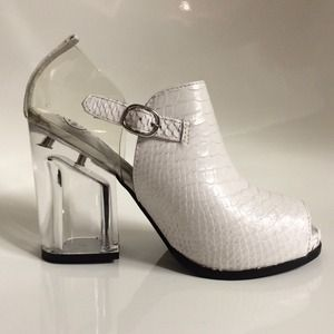 JEFFREY CAMPBELL White Leather Acrylic Heel Boots