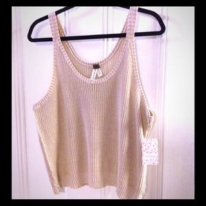 Free people loose fitting knitted tank in oatmeal
