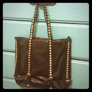 Handbags - Faux black leather with gold embelishments