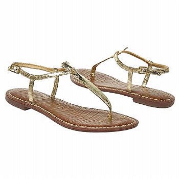 9a9ce507a53b6 Sam Edelman Gold Gigi Croc sandals flats sz 7.5. M 5375094b4845e65b74075d48