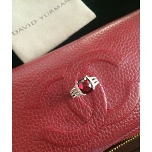 Authentic David Yurman PETITE WHEATON RING GARNET