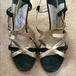 Black and gold strappy Jimmy Choo heels
