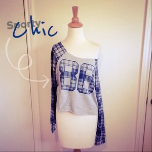 Tops - Slouchy Navy Plaid Sleeves