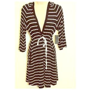 Striped Empire Waist Hooded Cover Up