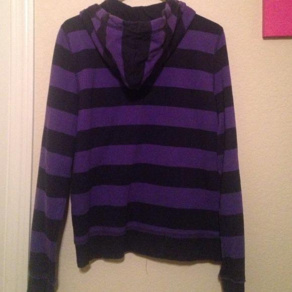 Aeropostale - Distressed purple and black striped zipper hoodie ...
