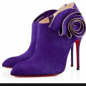 Christian Louboutin Purple Suede Booties Size 39