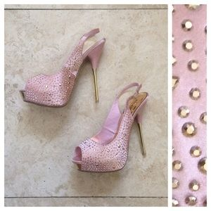 Shoedazzle Shoes - Pink, jeweled, peep-toe stiletto heels. *NWB