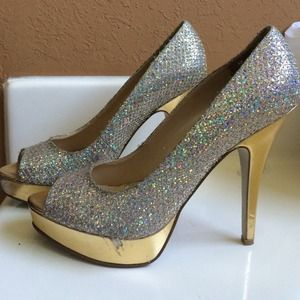 Gold and silver sequin heels.