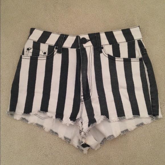67% off BDG Pants - BDG Black/White Striped High Waisted Shorts ...