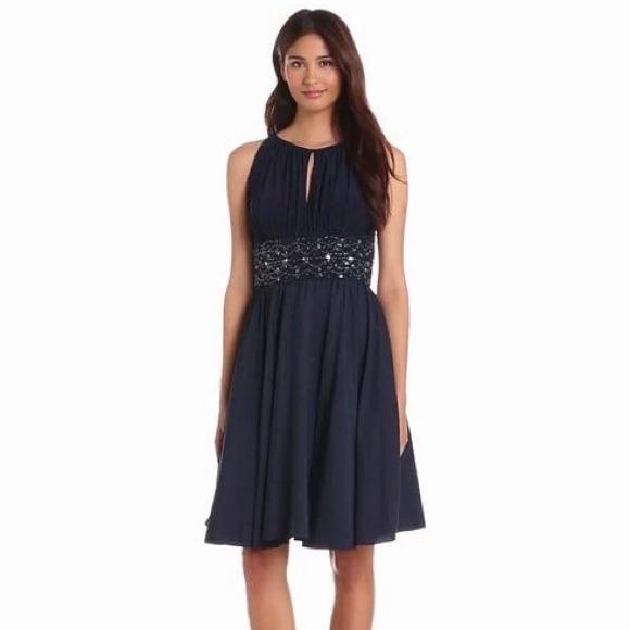 7bc93417e27 Jessica Howard Missy Sleeveless Keyhole Dress Navy
