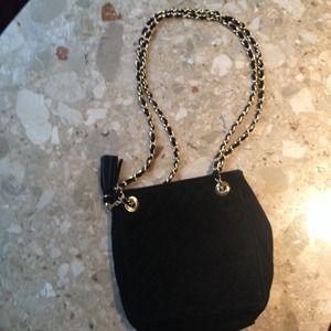 Handbags - Black Quilted Suede Shoulder Bag