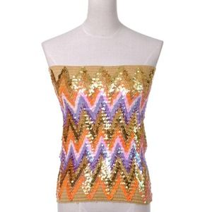 Tops - Shimmer sequin chevron top skirt small NWT S