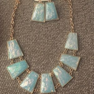 Turquoise Toned Necklace & Earrings Set