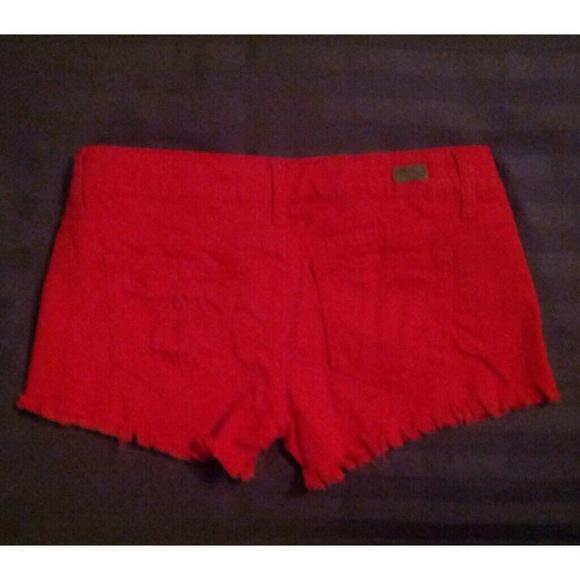 80% off 1st Kiss Denim - red denim frayed jean shorts from Dani ...