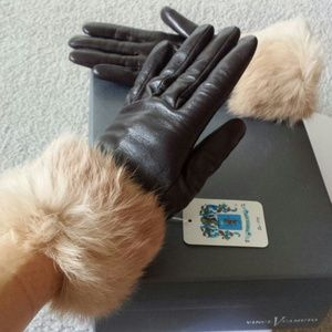 Leather Gloves Portolano with real fur Brand New!
