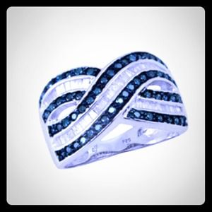 6 hour DropSterling Blue & White Diamond Ring