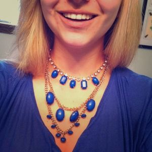 Blue, gold and bling necklace.