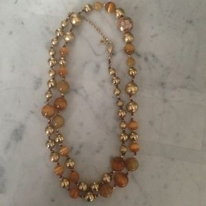 Gorgeous Gold Tan Beaded Long Statement Necklace