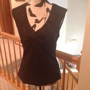 Black Lace Sleeveless Top w/ ruching at the bust