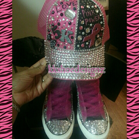 8eead7c657141 Custom converse and hat breast cancer awareness