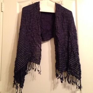Urban Outfitters Accessories - Navy striped scarf with fringe urban outfitters