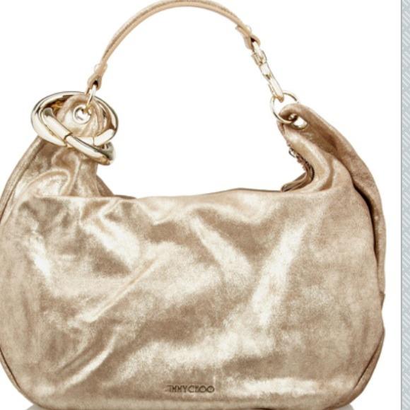 e6f7dd11041e9 Jimmy Choo Solar Metallic Brushed Leather Hobo Bag