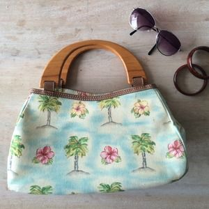 Handbags - Tropical Print Handbag with Wood Handles