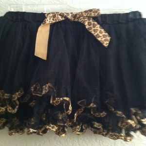Black with leopard trim tutu skirt