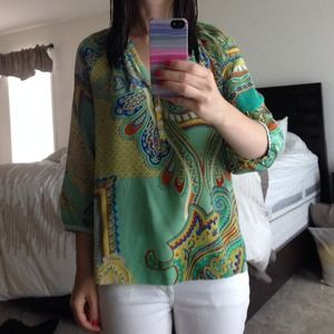 Paisley printed 3/4 sleeve blouse