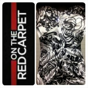 HOST PICK Black and White Rouche Gown w/ broach