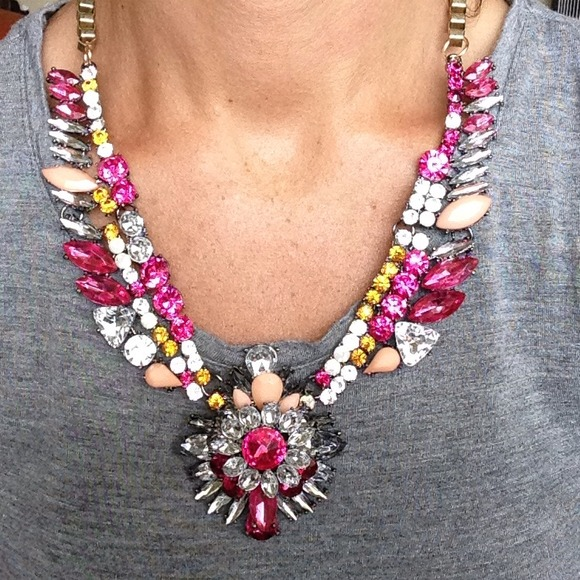 Pink/Fuchsia amber crystal statement necklace
