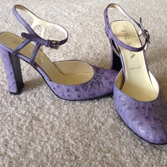 86% off Prada Shoes - Super reduced !!! PRADA Purple Ostrich Heels ...