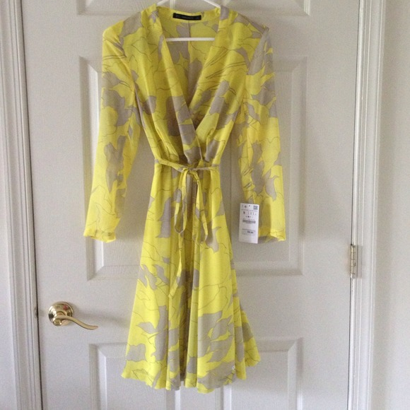 Zara Dresses New Yellow Grey Chiffon Wrap Dress Poshmark