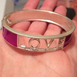"Purple and silver ""love"" bracelet"
