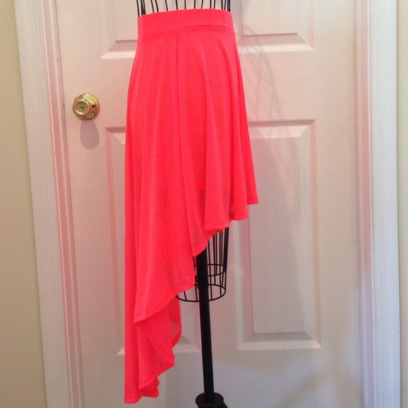 h m h m coral neon high low skirt from shamira s closet