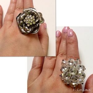 Jewelry - Two NWOT Tings: Rose & Clear Beads Statement