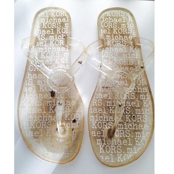 Michael Kors Clear Jelly Flip Flops