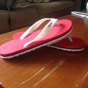 ffd639cd914d locals Shoes - Pink red and red white rubber slippers