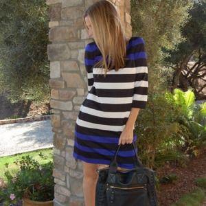 Cobalt/Black/White Striped Dress