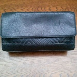 Black Faux Leather Wristlet