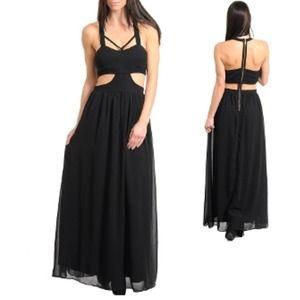 Dresses & Skirts - Cut out black chiffon maxi dress