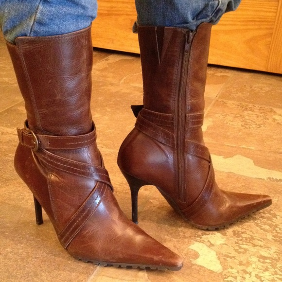 Steve Madden - Brown Leather High Heel Steve Maddan Boots from ...