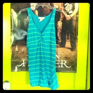 Cute blue and green striped tank!