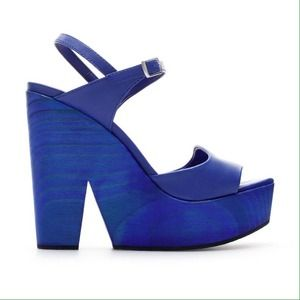 Zara Electric Blue Platform Heels / Wedges